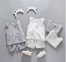 Kids Wear 2019 Summer New Stylish Children Clothing Cotton Vest+short Two Piece Suits for A Boy 0-5 Year Baby Clothes MY-172202