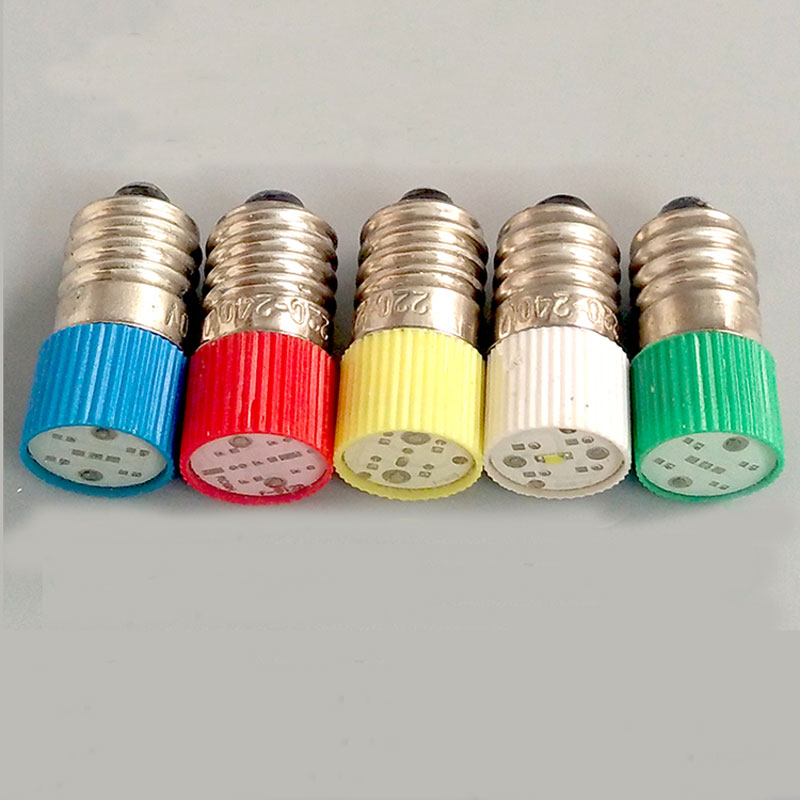 E10 LED Instrument Indicator Light Bulb 12V Button Switch Indicator Lamp