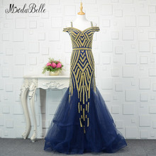 Modabelle Golden Navy Blue Evening Dress Beading Tulle 2018 Verkliga Foto Ruffles Mermaid Prom Dress Long Party Robe De Soiree