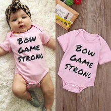 Newborn Baby Kids Girls Letters Printed Bodysuit Short Sleeve Jumpsuit Casual Outfits