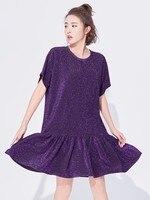 VGH Woman Dress New Short Batwing Sleeve O Neck Ruffles Pleated Loose Bright Silk Women Dress 2018 Summer Fashion Tide New