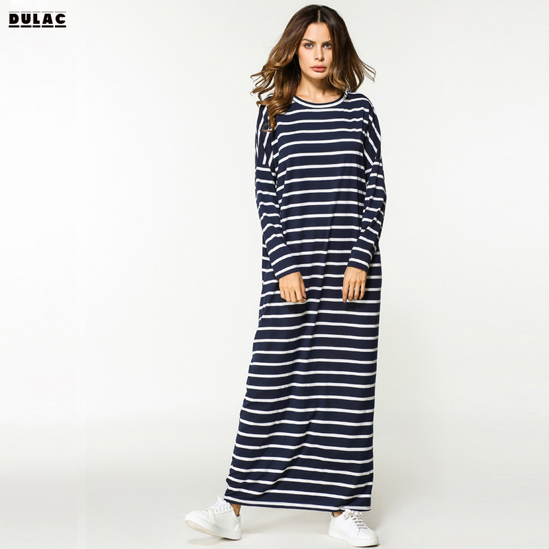 2018 Automne Nouvelle Arrivée Femmes Mode Moyen-Orient Vêtements Pleine Manches Rayé À Tricoter Casual Maxi O-cou Longue Robe Musulmane Robe