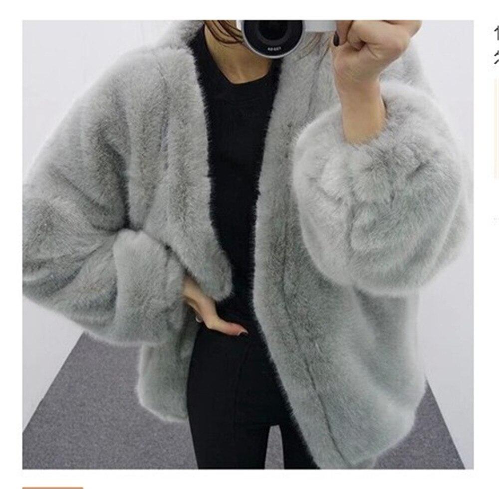 39b6248bba Court En V Col Goplus Manteau D'hiver Mex Femme Noir Veste Manteaux  Fourrure Long gris ...
