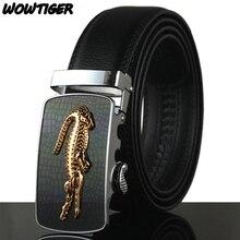 WOWTIGER Belt Man Hot Fashion Cowhide Leather men Designer Luxury Famous High quality Automatic buckle men Belts for men