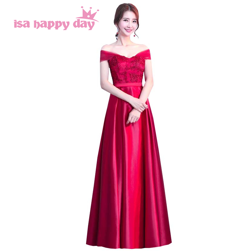Boat Neck Bridal Vintage Burgundy Color Bridesmaid Dresses Floor Length Satin Formal Gown Formall Dress Size For Princess H4182