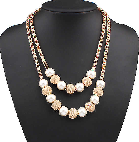 New Fashion Simulated Pearl Metal Ball Pendants Necklaces Women Chokers Statement Jewelry Accessories CN356