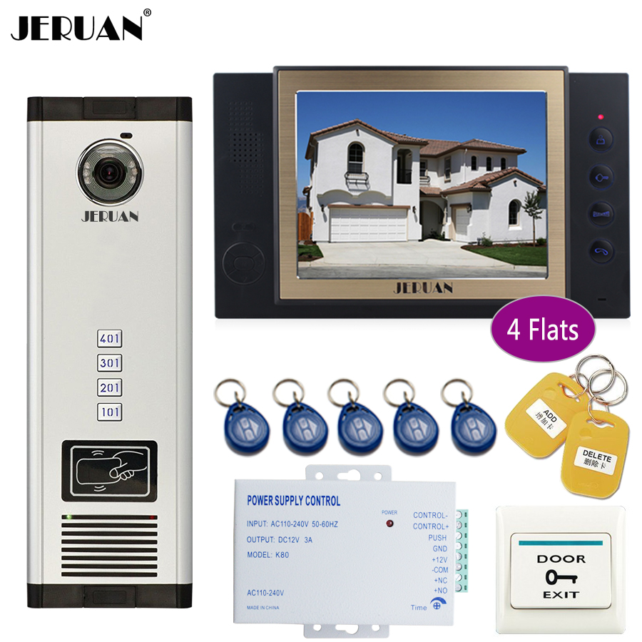 JERUAN Apartment 8`` Record Monitor 700TVL Camera Video Door Phone Intercom Access Home Gate Entry Security Kit for 4 Families jeruan 8 record monitor 700tvl camera video door phone intercom access home gate entry security kit for 10 families apartments