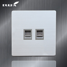 Telephone And Computer Wall Socket Double Port RJ45 Internet CAT5 Data Network Jack Plug + RJ11 TEL Outlet Stainless Steel Panel недорго, оригинальная цена