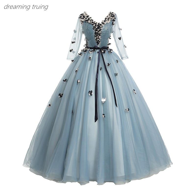 Élégant bleu foncé robes De soirée v-cou 3/4 manches 3d fleurs Robe De bal dames Robe formelle en Stock Robe De soirée Longue 2019