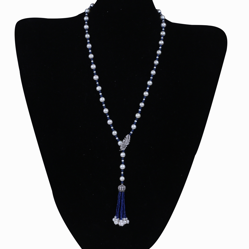 Fancy freshwater pearl necklace with blue stone tassel necklace for women цена