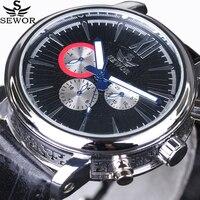 새로운 럭셔리 브랜드 남자 스포츠 시계 자동 기계식 시계 6 손 24 시간 자동 날짜 3 서브 다이얼 회전 파일럿 손목 시계