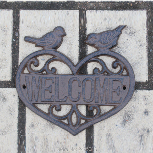 A Pair Of Lovebirds Welcome Sign Greeter Cast Iron Garden Stake By Gifts U0026  Decor