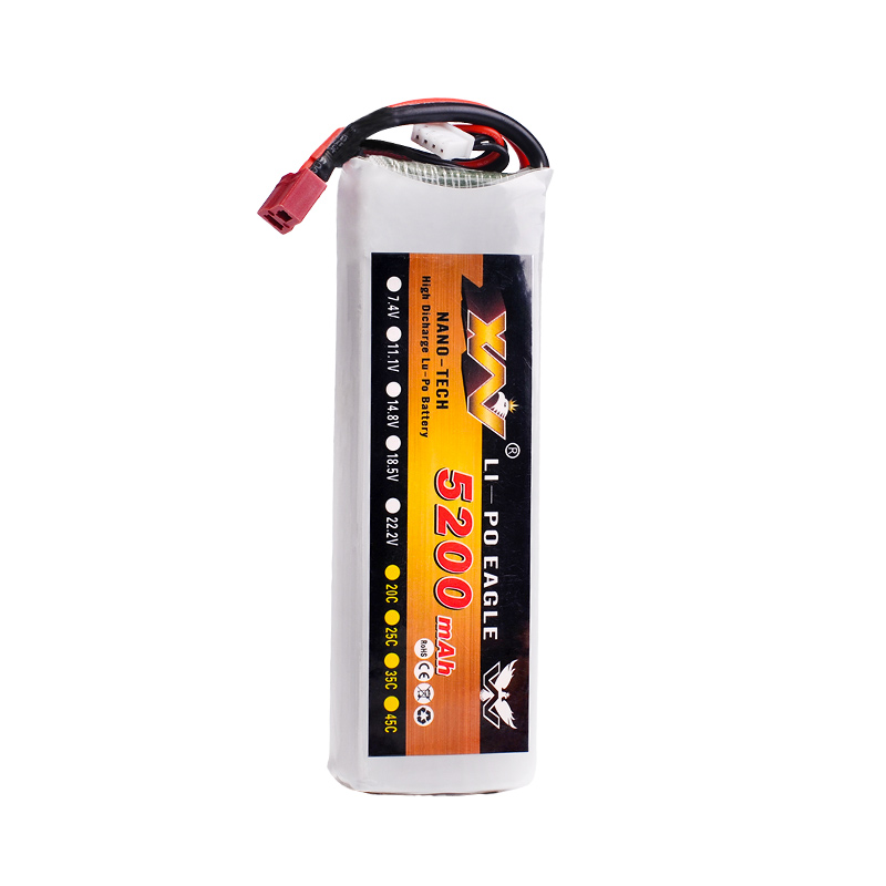 XW Power 7.4V 11.1V 14.8V 22.2V <font><b>5200mAh</b></font> 35C 2S 3S <font><b>4S</b></font> 6S Rechargeable <font><b>Lipo</b></font> Battery XT60 T other Plug For RC Drone Car Boat image