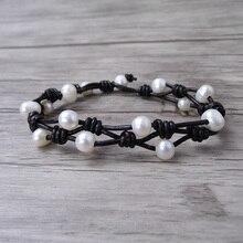 Boho wrap Pearl Leather bracelet Pearl wrap bracelet Single wrap Bracelet Real Pearl Jewelry yoga jewelry