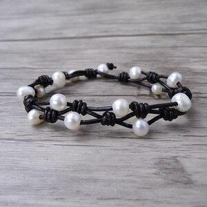 Image 1 - Boho wrap Pearl Leather bracelet Pearl wrap bracelet Single wrap Bracelet Real Pearl Jewelry yoga jewelry