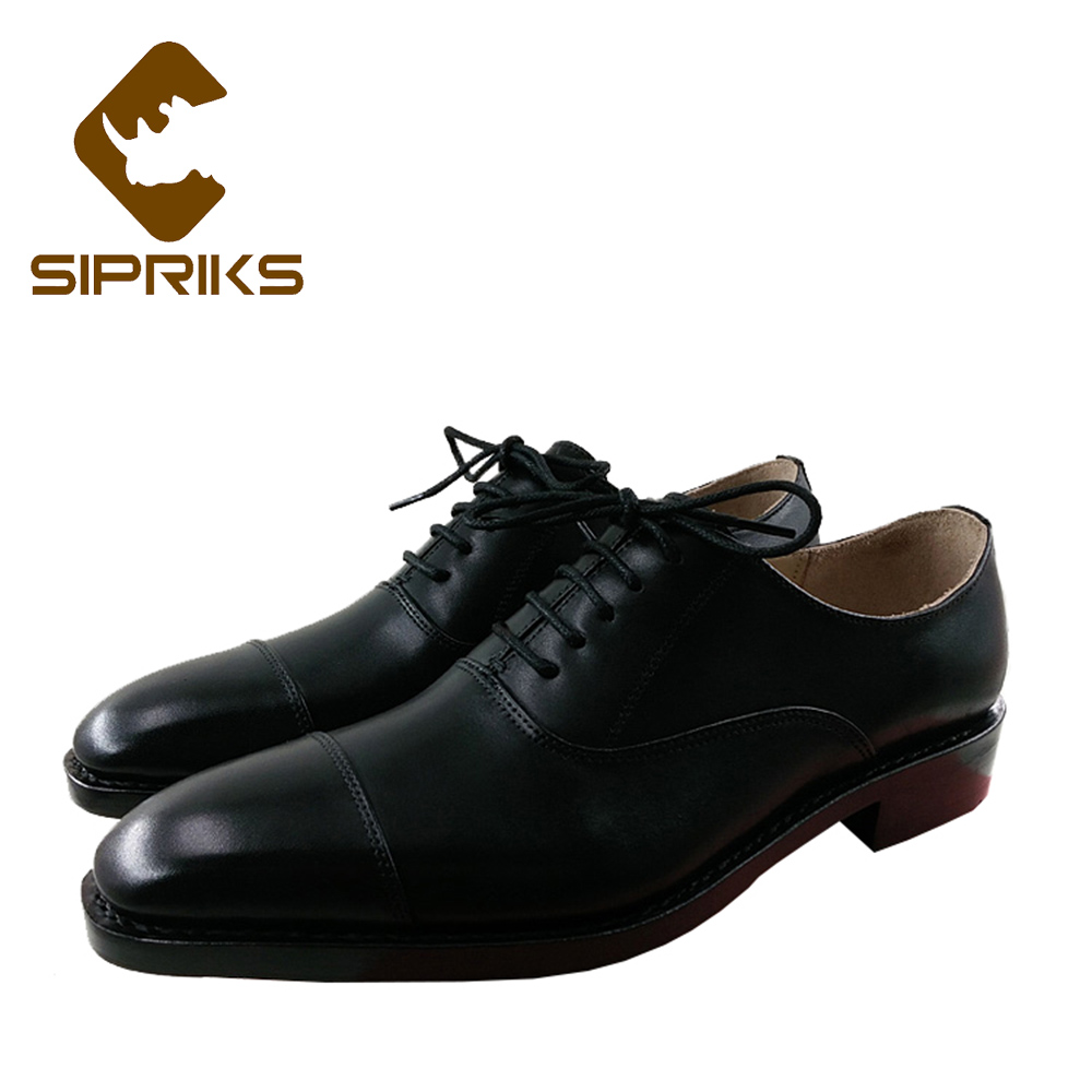 Sipriks Luxury Mens Church Shoes Italian Handmade Goodyear Welted Dress Shoes Elegant Black Leather Office Work Shoes For Men цена 2017