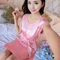 Women Satin Nightdress Lingerie Tassel Gowns Lace Up Faux Silk Nightgown Bathrobe Casual Sleepwear  907-203