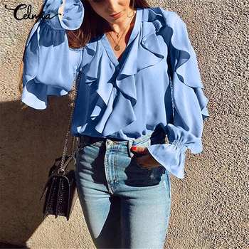 Plus Size Celmia Ruffled Blouse Women Summer Stylish Tops Sexy V neck Long Sleeve Shirt Female Casual Buttons Sweet Blusas S-5XL 3