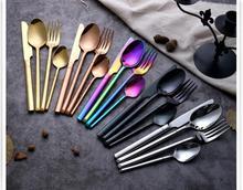 New Arrival 4pcs set Black Gold Colorful Rainbow Wedding Cutlery set