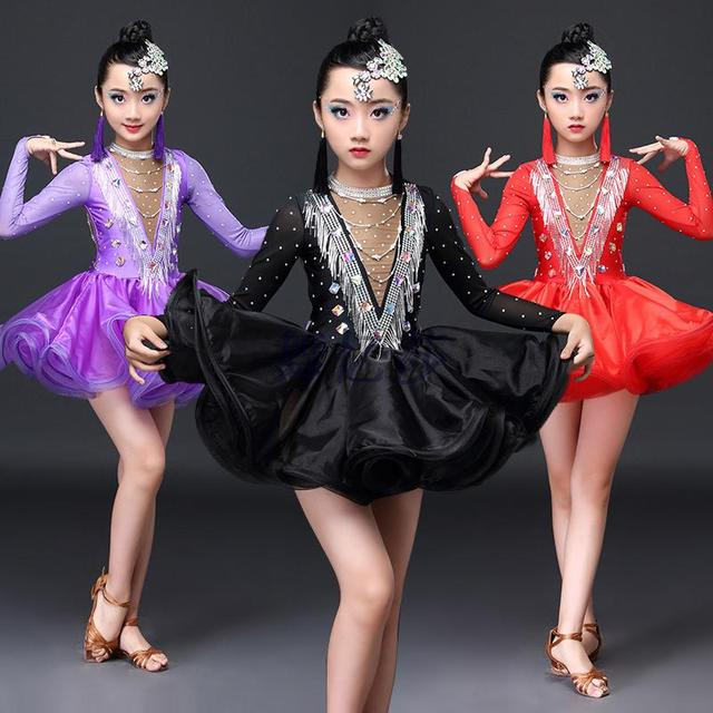 New Professional  Style Latin Dance Costume Diamond Gauze Latin Dance Competition Dresses for Girls  child Latin dance dresses