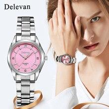 Модные часы делеван бренд relogio Роскошные Для женщин Повседневное часы водонепроницаемые часы Женская мода платье горный хрусталь часы 1129