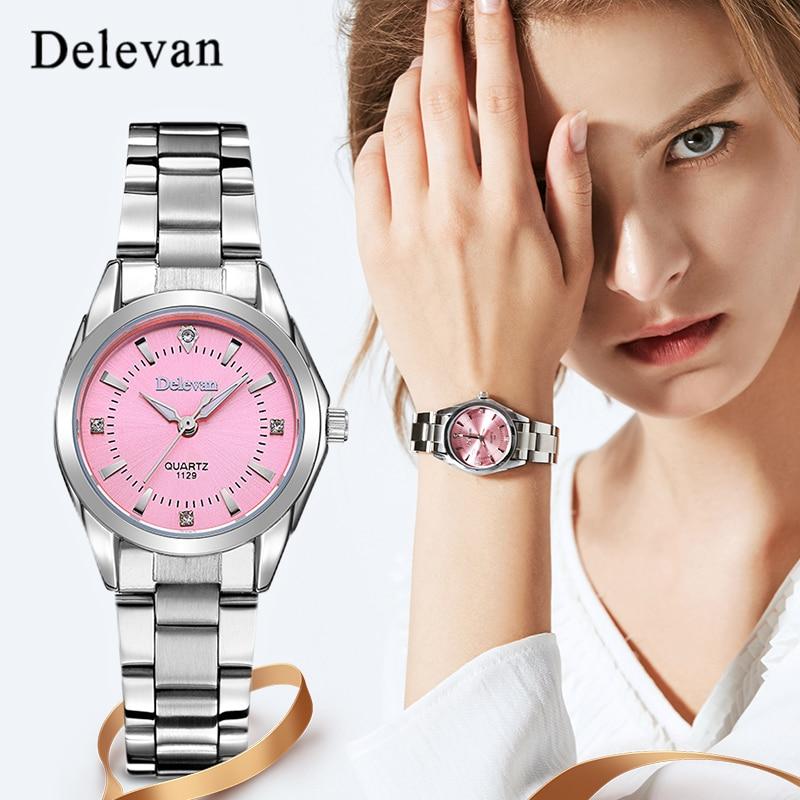 Reloj de moda DELEVAN marca reloj de lujo para mujer relojes casuales reloj  a prueba de agua mujer vestido de moda reloj de diamantes de imitación 1129  en ... dcbd28e31f4a