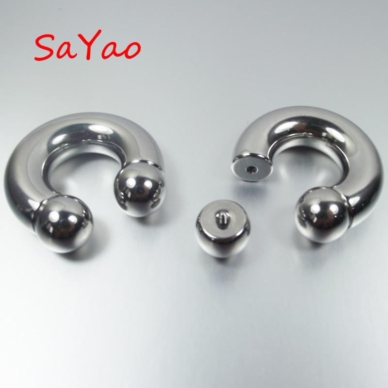Lot of 10 Internally Threaded Stainless Steel Circular Barbell