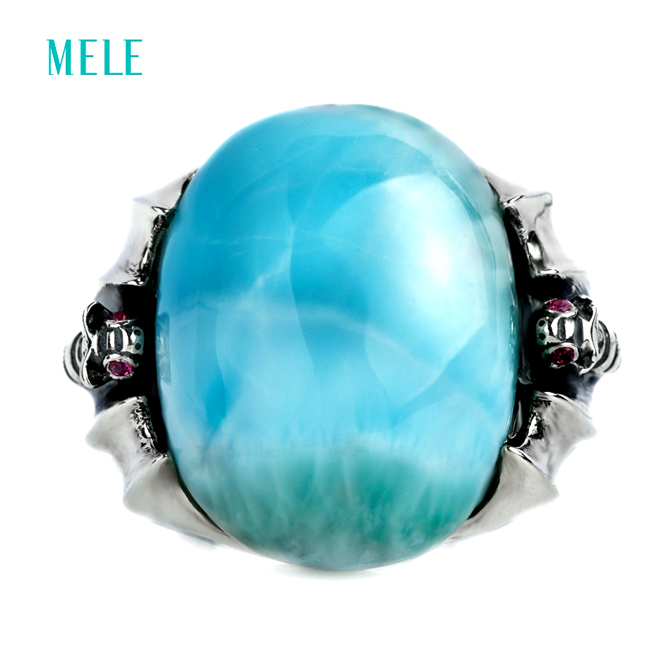 Hotsale Natural larimar blue stone silver ring big oval 17mm 20mm beautiful blue color like ocean