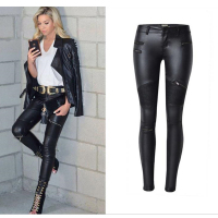 DoreenBow American Apparel Sexy Women PU Leather Pants Black Multi Zipper Motorcycle PU Women Pencil Trousers