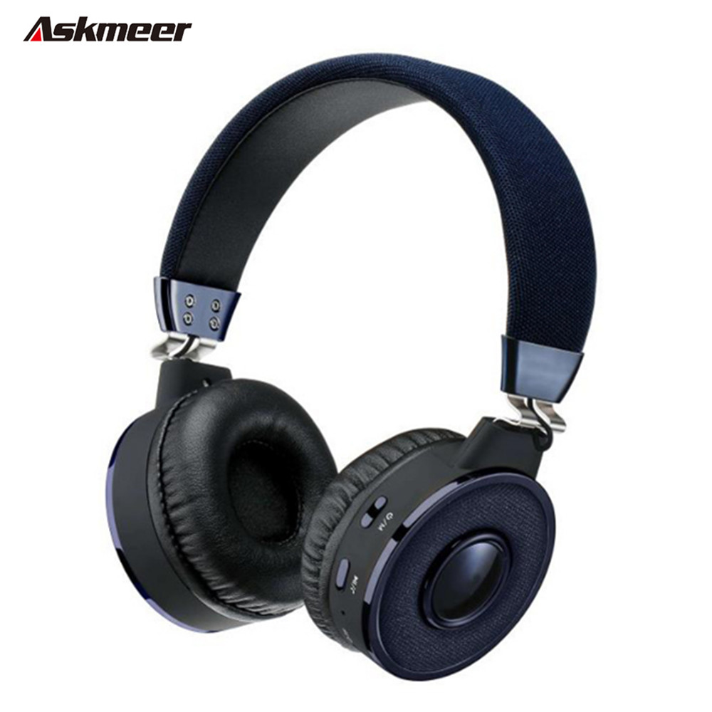 Askmeer BT-08 Wireless Bluetooth Headphone With Mic FM TF Card Hands free Stereo Blue tooth Headset For iPhone Android Phone MP3 dopo bt 200s mini wireless bluetooth v4 0 hands free touch speaker w mic tf 3 5mm black