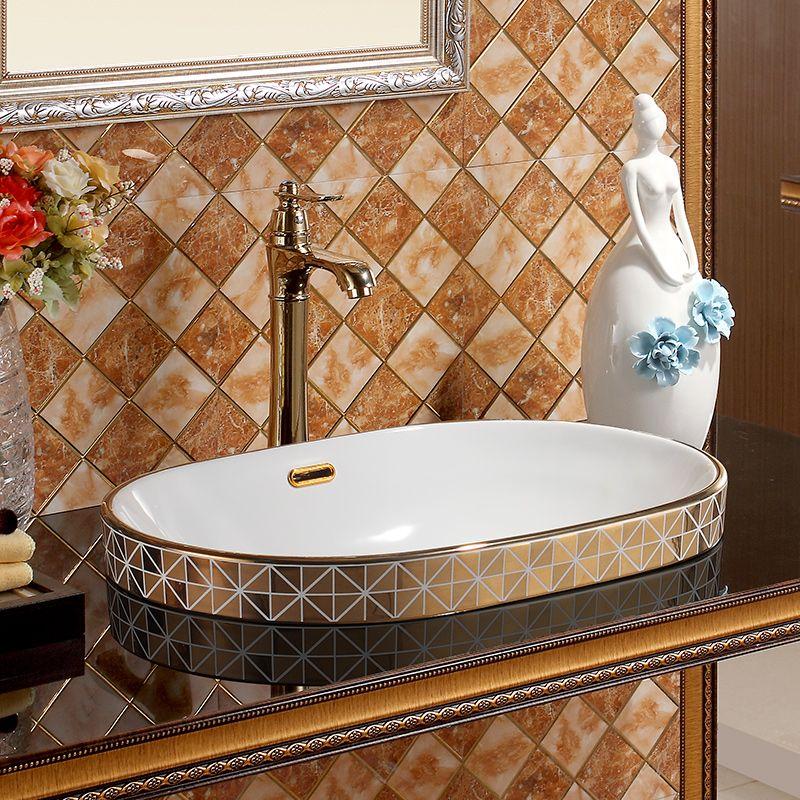 Oval überlauf mosaik gold Europa Vintage Style Art waschbecken ...
