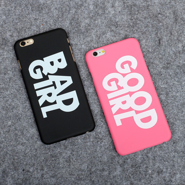 online retailer 83af9 2d422 US $1.28 |1 piece newest fashion hard PC Mobile phone cases For phone  English letter pink good girl black bad girl cover case for iphone on ...