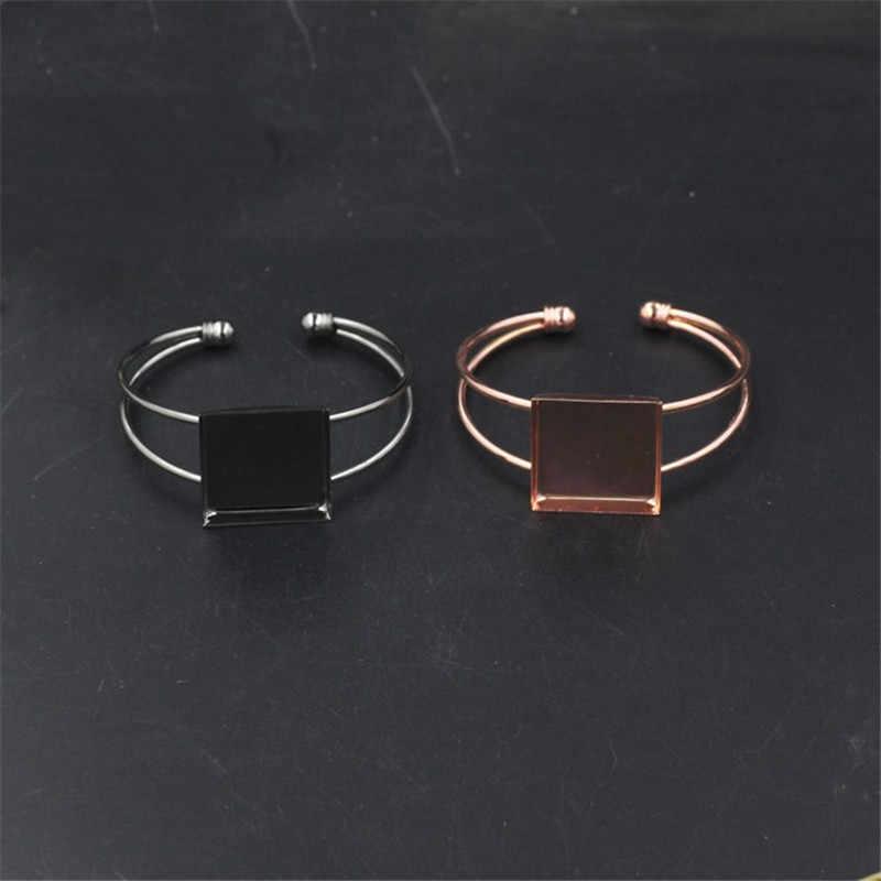 6 couleurs Bracelet manchette carré paramètres Cabochon camée Bases 25mm plateaux lunette blanc Base réglage pour les résultats de Bracelet à bricoler soi-même