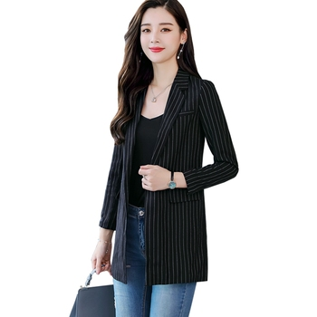 Bri Spring and Autumn New Women's Striped Small Suit Women's Jacket Long Sleeve Medium Long Retro Strip Striped suit female coat striped trim raglan sleeve jacket