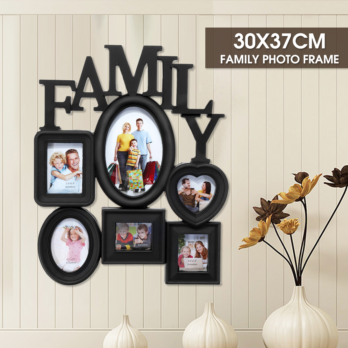 Photo-Frame Holder Display Wall-Hanging Multi-Sized Home-Decor Black Family 6-Pictures