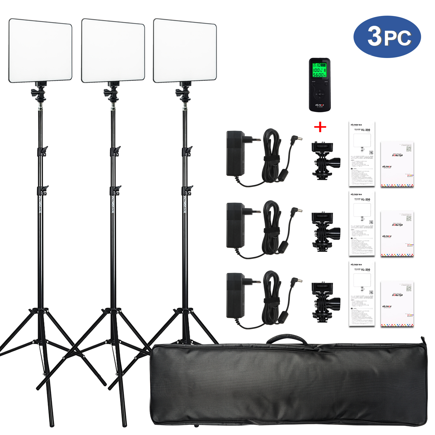 VILROX 3 pcs VL-200T Bi-color Dimmable Wireless remote LED Video Light Panel Lighting Kit+75