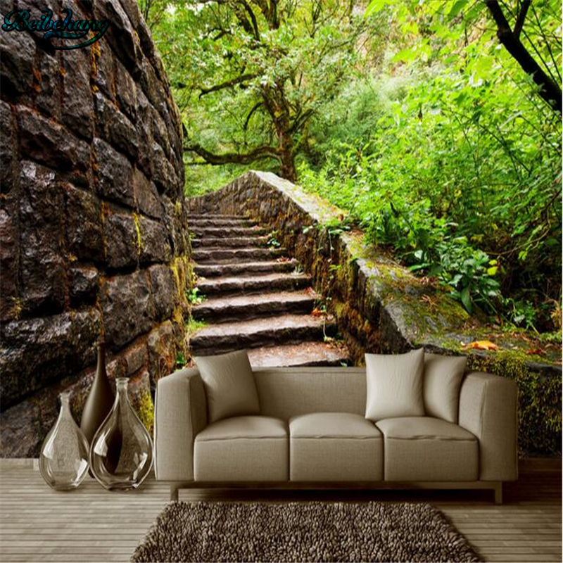 Beibehang Outdoor Garden Woods Stairs Three-dimensional Space Background Wall Living Room Bedroom Sofa