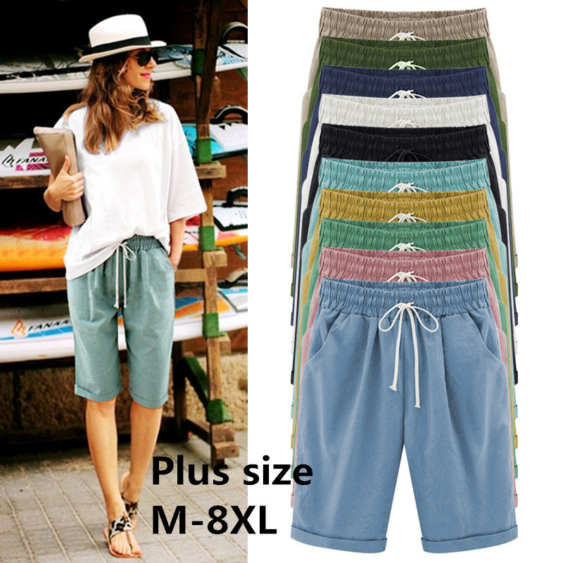Summer Large Size Shorts Women Candy Color Elastic Comfortable Cotton Womens Short Female Shorts Plus Size M-7xL 8XL  8 Color