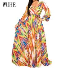 цены на WUHE Autumn Women Vintage Printed Dress Long Sleeve V Neck Casual Chiffon Dress European Style Elastic Waist Femme Long Dress в интернет-магазинах