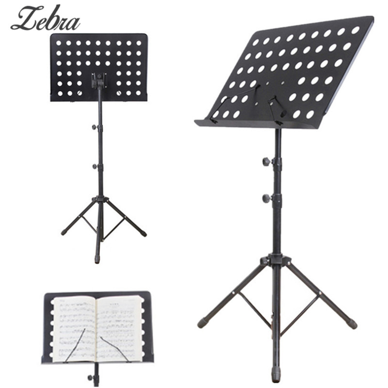 Zebra Metal Black Adjustable Music Stand Music Score Foldable Holder 80-165cm Musical Instruments Accessory russia seller wholesale white m903 flanger fl 05 professional telescopic foldable small music stand musical instrument gig bag