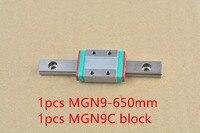 MR9 9 milímetros trilho de guia linear comprimento 650 milímetros com MGN9C MGN9 ou MGN9H bloco linear motion guia linear em miniatura maneira 1 pcs