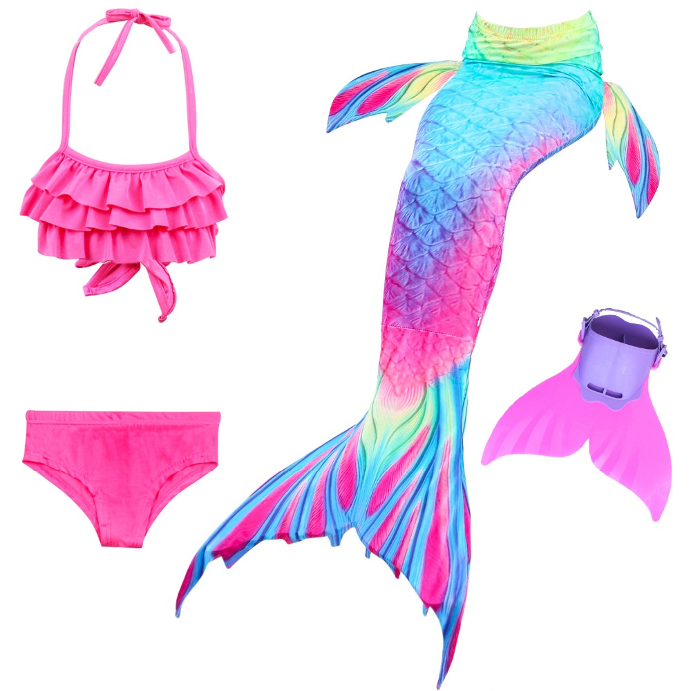 Children Girls Mermaid Tails For Swimming Costume Cosplay Mermaid Swimsuit with Fin Bathing Suit For Kids Swimmable Bikini Set