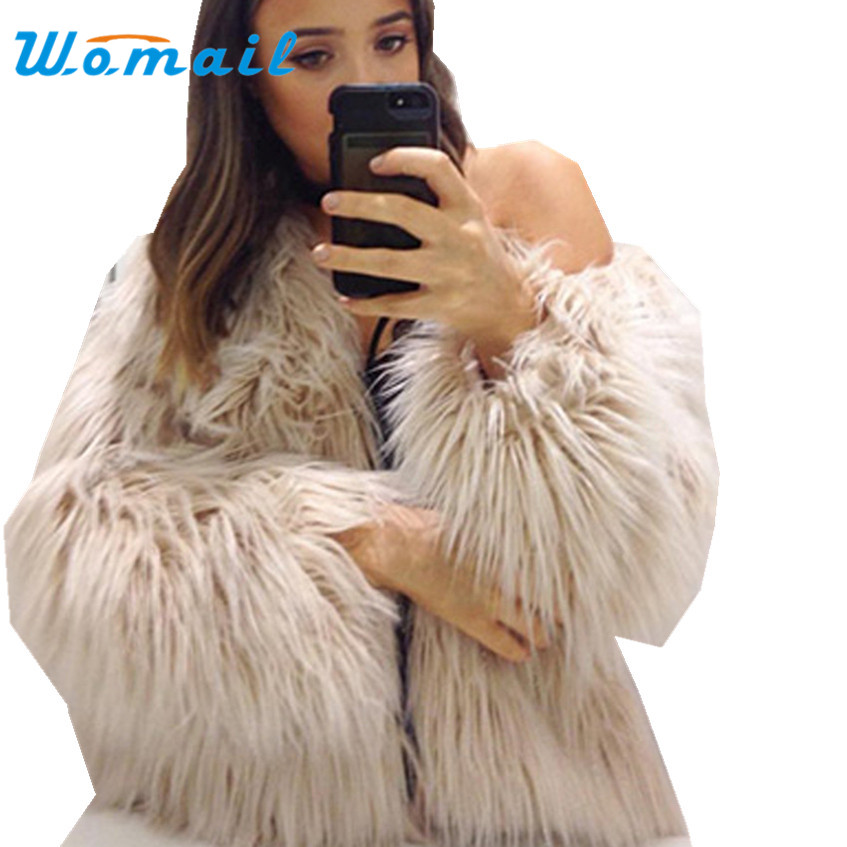 SIF 2017 Women's Autumn Winter Faux Fur Fox Fur jacket Coat Long Hairy Long Sleeve Shaggy Outwear Coat Jacket Parka Outerwear