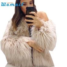 SIF 2016 Women's Autumn Winter Faux Fur Fox Fur jacket Coat Long Hairy Long Sleeve Shaggy Outwear Coat Jacket Parka Outerwear