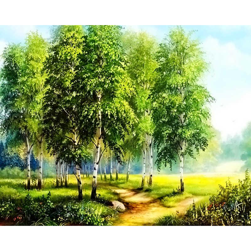 """เย็บปักถักร้อยเพชร Scenery """"ต้นไม้ Birch"""" เต็มรูปแบบเพชรภาพวาด """"ธรรมชาติป่าแผนที่"""" Mosaic Cross Stitch"""