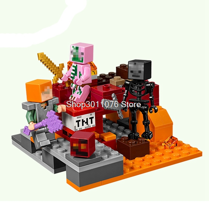 Minecraft Series The Nether Fight Set 94 Pcs Building Blocks Toys For Children Compatible with 21139 Educate Legoing Minecrafts