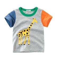 Summer T-shirt 100% cotton prints dinosaur animals for boys short-sleeved tops