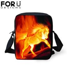 FORUDESIGNS Fire Crazy Horse Crossbody Bag Women Men Travel Messenger Bags Cool Printing Shoulder Satchels 2019