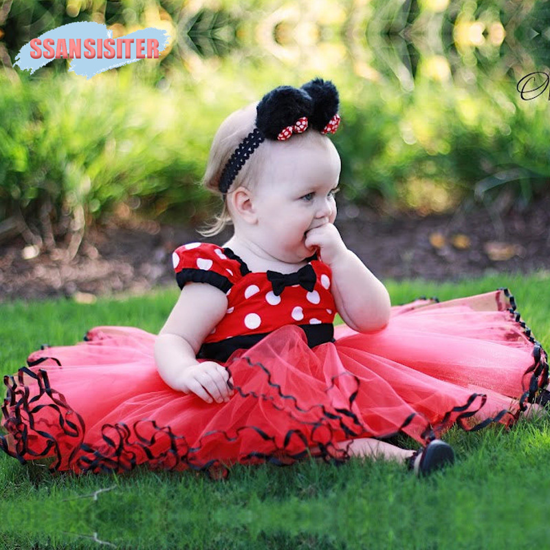 Baby Girls Minnie Tutu Dress Fancy Mouse Cosplay Costume Bow-knot Dot Backless Kids Cartoon Dress Party 1 Year Birthday Dress 2017 newest kids gift minnie tutu party dress fancy costume cosplay girls minnie dress headband 12m 7y infant baby clothes red