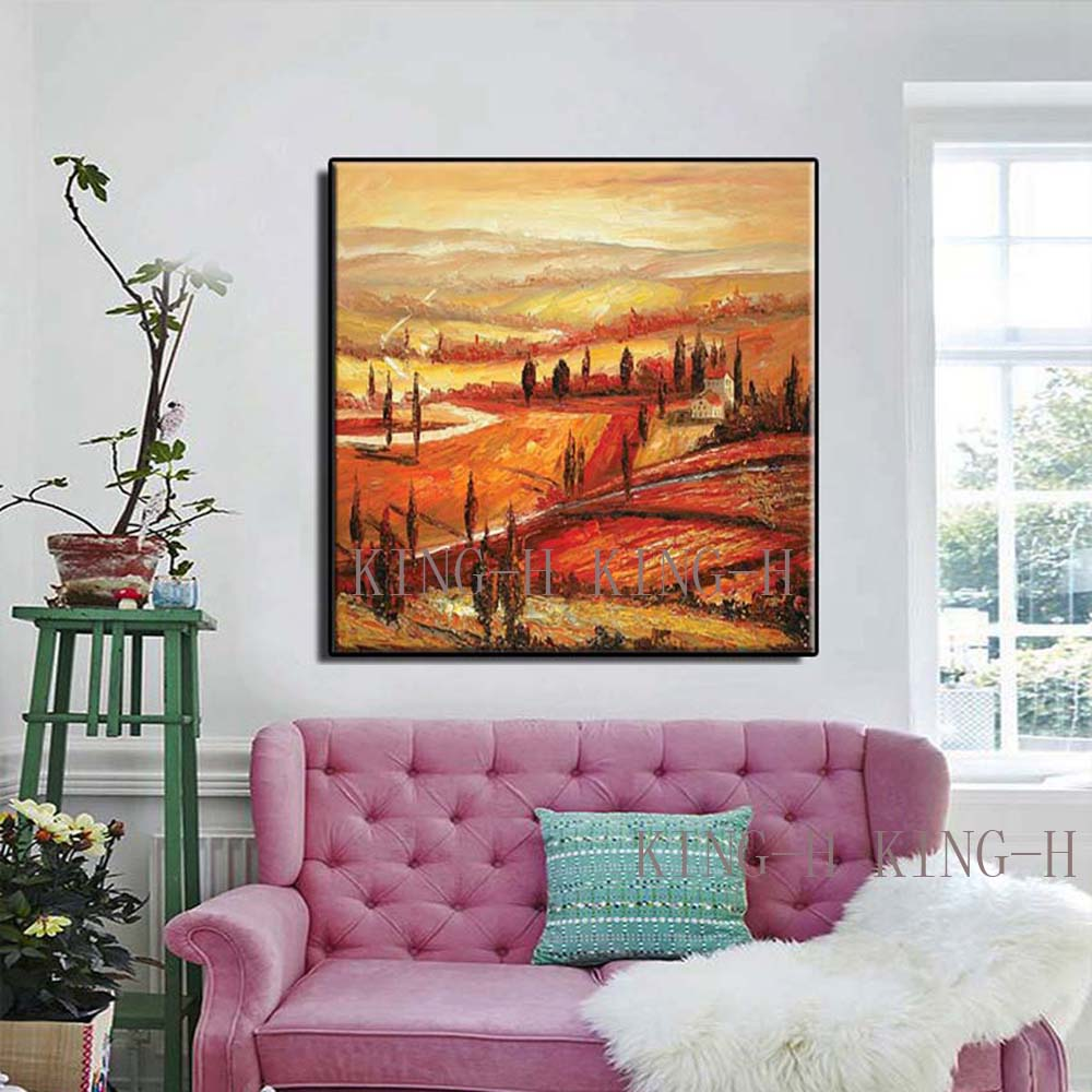 Hand painted oil painting scenery landscape pastoral scenery red rustic landscape rural porch of gules sofa hall no framework in Painting Calligraphy from Home Garden